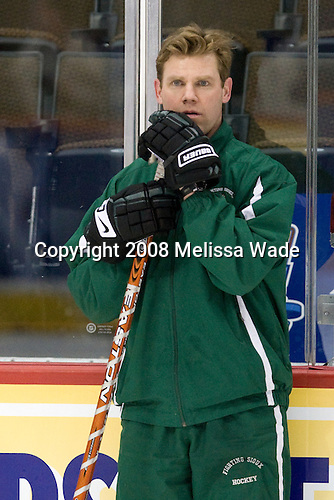 Dane Jackson (North Dakota Assistant Coach) - The 2008 Frozen Four participants practiced on Wednesday, April 9, 2008, at the Pepsi Center in Denver, Colorado.