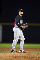 Wisconsin Timber Rattlers pitcher Nathan Kirby (27) gets ready to deliver a pitch during the second game of a doubleheader against the Quad Cities River Bandits on August 19, 2015 at Modern Woodmen Park in Davenport, Iowa.  Quad Cities defeated Wisconsin 8-1.  (Mike Janes/Four Seam Images)