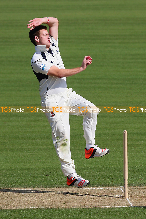Ryan Higgins in bowling action for Middlesex during Surrey CCC vs Middlesex CCC, Friendly Match Cricket at the Kia Oval on 22nd March 2016