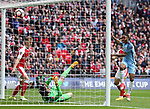 Manchester City's Raheem Sterling sees his goal disallowed during the FA Cup Semi Final match at Wembley Stadium, London. Picture date: April 23rd, 2017. Pic credit should read: David Klein/Sportimage