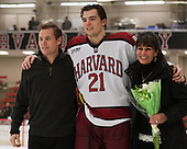 Marshall Everson, Marshall Everson (Harvard - 21), Lenore Everson - The Class of 2013 was celebrated following the final Harvard Crimson home game of the season on Saturday, March 2, 2013, at Bright Hockey Center in Cambridge, Massachusetts.