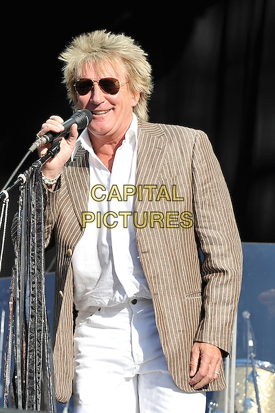 Rod Stewart.Hard Rock Calling, Hyde Park, London, England..June 26th, 2011.stage concert live gig performance music half length beige suit jacket white shirt sunglasses shades singing.CAP/MAR.© Martin Harris/Capital Pictures.