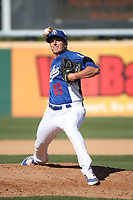 Andrew Istler (49) of the Rancho Cucamonga Quakes pitches against the Stockton Ports at LoanMart Field on May 28, 2017 in Rancho Cucamonga, California. Stockton defeated Rancho Cucamonga, 7-4. (Larry Goren/Four Seam Images)