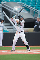 Michael Paez (1) of the Coastal Carolina Chanticleers at bat against the Bryant Bulldogs at Springs Brooks Stadium on March 13, 2015 in Charlotte, North Carolina.  The Chanticleers defeated the Bulldogs 7-2.  (Brian Westerholt/Four Seam Images)