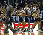 Nevada cheerleaders perform in the first half of their game against Little Rock in the first half of an NCAA college basketball game in Reno, Nev., Friday, Nov. 16, 2018. (AP Photo/Tom R. Smedes)