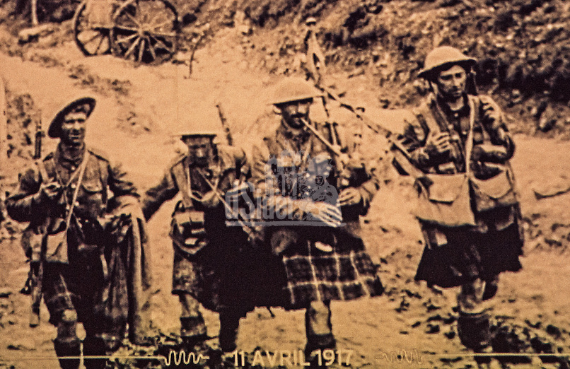 Scottish soldiers at Battle of Arras 9th April 1917 led by a piper