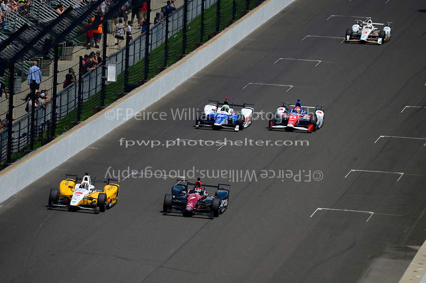 Verizon IndyCar Series<br /> Indianapolis 500 Race<br /> Indianapolis Motor Speedway, Indianapolis, IN USA<br /> Sunday 28 May 2017<br /> Oriol Servia, Rahal Letterman Lanigan Racing Honda, Mikhail Aleshin, Schmidt Peterson Motorsports Honda, Jay Howard, Schmidt Peterson Motorsports Honda, Carlos Munoz, A.J. Foyt Enterprises Chevrolet, Helio Castroneves, Team Penske Chevrolet<br /> World Copyright: F. Peirce Williams<br /> LAT Images