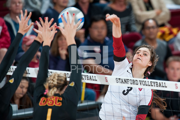 STANFORD, CA-OCTOBER 10, 2012 - Stanford defeats  visiting USC in straight sets at Maples Pavilion.