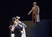 Photo from the dress rehearsal of the Occidental College Department of Theater presentation of Machinal, written by Sophie Treadwell and directed by Sarah Kozinn, Nov. 8, 2017 in Keck Theater. Machinal premiered on Broadway at the Plymouth Theatre on September 7, 1928. <br /> Starring: Allegra Frank '20, Dyoni Isom '19, Deja Kirk '20, London Murray '18, Kerensa Nagle '18, Natalya Nielsen '21, Sergio Perez '20, Elena Sanchez '18, Joseph Sortino '20, Eliana Sternin '19, Brandon Stoll '21, Rob Turner '18, Will Youmans '20.<br /> (Photo by Marc Campos, Occidental College Photographer)