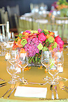 Floral arrangements, table settings at elegant  Bat Mitzvah at the 65th floor ballroom of the  Mandarin Oriental Hotel.  ..