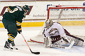 Chris McCarthy (UVM - 3), Parker Milner (BC - 35) - The Boston College Eagles defeated the University of Vermont Catamounts 4-1 on Friday, February 1, 2013, at Kelley Rink in Conte Forum in Chestnut Hill, Massachusetts.