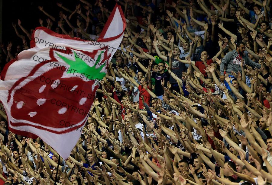 Kosarka Kosarkaska Liga Srbije season 2014-2015<br /> Crvena Zvezda v Partizan<br /> Delije navijaci fans supporters flags flairs zastave <br /> Belgrade, 05.17.2015.<br /> foto: Srdjan Stevanovic/Starsportphoto &copy;