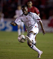 DaMarcus Beasely kicks the ball against Panama in the first half in Panama City, Panama, Wednesday, June 8, 2005. 2005. USA won 3-0.