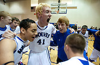 Grandview High School unified basketball player Shane Powell (cq, 41) yells with teammates before a game against Overland High School at Grandview High School in Aurora, Colorado, Wednesday, February 1, 2012. Unified sports teams, an outgrowth of the Special Olympics, are teams with both special needs and traditional high school students as players. The idea is that special needs kids shouldn't be separated and be allowed to participate in a competitive games as well at their schools...Photo by Matt Nager