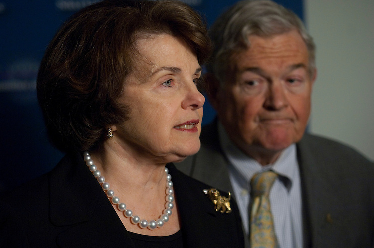 WASHINGTON, DC - May 11: Senate Select Committee on Intelligence Chairwoman Dianne Feinstein, D-Calif., and Vice Chairman Christopher S. Bond, R-Mo., during a news conference after a closed hearing on the attempted car bombing of Times Square on May 1. Five Democratic senators asked the State Department on Tuesday to label the Pakistani Taliban a terrorist organization in light of its link to the incident. (Photo by Scott J. Ferrell/Congressional Quarterly)