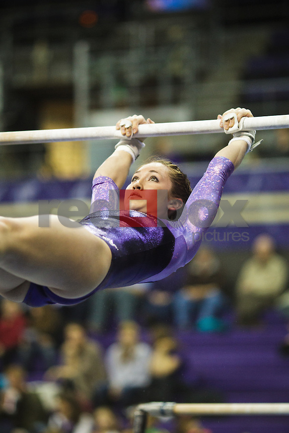 Ruby Engreitz..----Washington Huskies gymnastics tri-meet vs Louisiana State University and Seattle Pacific University at Alaska Airlines Arena at Hec Edmundson Pavilion in Seattle on Friday, February 17, 2012. (Photo by Dan DeLong/Red Box Pictures)