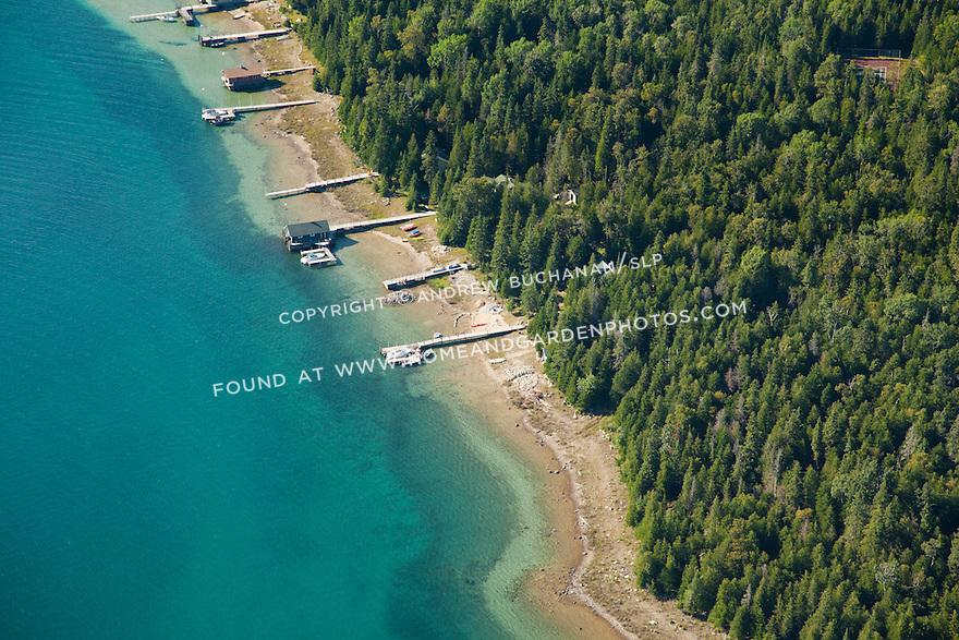 the west side of Coryell Island shoreline, Les Cheneaux area of Lake Huron near Cedarville, MI