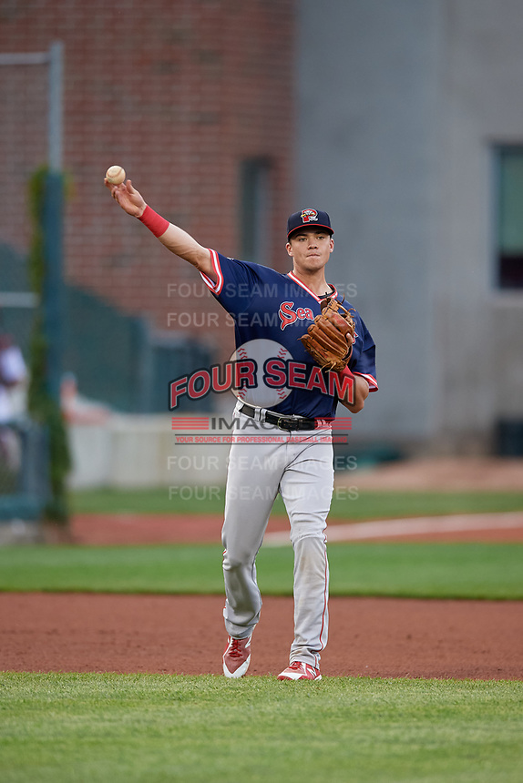 Portland Sea Dogs third baseman Bobby Dalbec (29) throws to first base during an Eastern League game against the Erie SeaWolves on June 17, 2019 at UPMC Park in Erie, Pennsylvania.  Portland defeated Erie 6-3.  (Mike Janes/Four Seam Images)