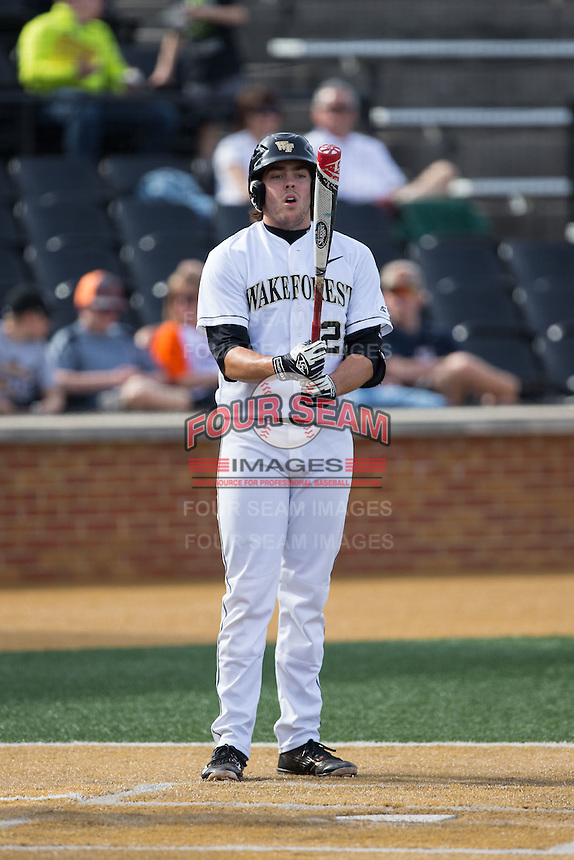 Will Craig (22) of the Wake Forest Demon Deacons prepares to step into the batter's box during the game against the Miami Hurricanes at Wake Forest Baseball Park on March 21, 2015 in Winston-Salem, North Carolina.  The Hurricanes defeated the Demon Deacons 12-7.  (Brian Westerholt/Four Seam Images)