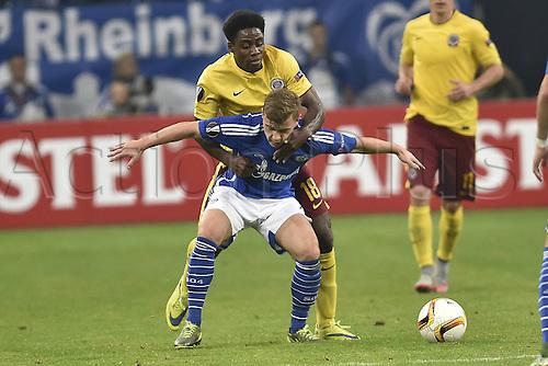 22.10.2015. Gelsenkirchen, Germany. UEFA Europa League football. FC Schalke versus Sparta Prague.  Max Meyer (Schalke) and Tiemoko Konate (Sparta Prag)