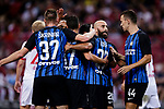 FC Internazionale squad celebrating a score during the International Champions Cup match between FC Bayern and FC Internazionale at National Stadium on July 27, 2017 in Singapore. Photo by Marcio Rodrigo Machado / Power Sport Images