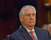 ***FILE PHOTO*** Trump Fires Tillerson As secretary Of State<br /> Rex Wayne Tillerson, former chairman and chief executive officer of ExxonMobil testifies before the United States Senate Committee on Foreign Relations considering his nomination of to be Secretary of State of the US on Capitol Hill in Washington, DC on Wednesday, January 11, 2017.<br /> CAP/MPI/LYN<br /> &copy;LYN/MPI/Capital Pictures