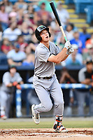 Augusta GreenJackets third baseman Jacob Gonzalez (18) swings at a pitch during a game against the Asheville Tourists at McCormick Field on June 15, 2018 in Asheville, North Carolina. The Tourists defeated the GreenJackets 6-5. (Tony Farlow/Four Seam Images)