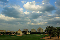 A general view of the 9th green during the first round of the Ras Al Khaimah Challenge Tour Grand Final played at Al Hamra Golf Club, Ras Al Khaimah, UAE. 31/10/2018<br />