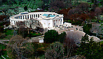 Aerial view of the Tomb of the unknown soilder, at arlington national cemetary.