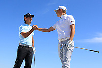Matteo Manassero (ITA) and Jason Scrivener (AUS) have a pitching challenge during the previews ahead of the Rocco Forte Sicilian Open played at Verdura Resort, Agrigento, Sicily, Italy 08/05/2018.<br /> Picture: Golffile | Phil Inglis<br /> <br /> <br /> All photo usage must carry mandatory copyright credit (&copy; Golffile | Phil Inglis)