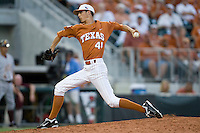Texas Longhorns pitcher Hoby Milner #41 delivers against the Arizona State Sun Devls in NCAA Tournament Super Regional baseball on June 10, 2011 at Disch Falk Field in Austin, Texas. (Photo by Andrew Woolley / Four Seam Images)