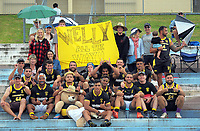 The Wellington Men's team poses with fans on day two of the 2018 Bayleys National Sevens at Rotorua International Stadium in Rotorua, New Zealand on Sunday, 14 January 2018. Photo: Dave Lintott / lintottphoto.co.nz