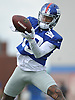 Odell Beckham, Jr. #13, New York Giants wide receiver, makes a catch during training camp at Quest Diagnostics Training Center in East Rutherford, NJ on Friday, Aug. 3, 2018.