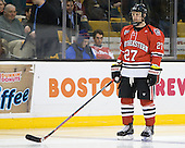 Alex Tuckerman (Northeastern - 27) - The Boston College Eagles defeated the Northeastern University Huskies 7-1 in the opening round of the 2012 Beanpot on Monday, February 6, 2012, at TD Garden in Boston, Massachusetts.
