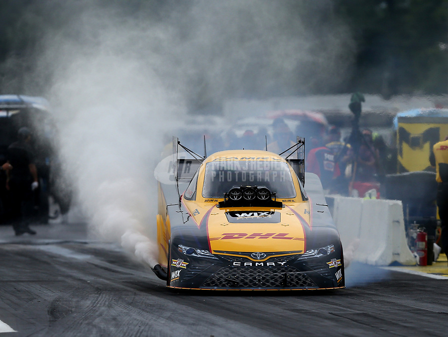 Aug 18, 2017; Brainerd, MN, USA; NHRA funny car driver J.R. Todd during qualifying for the Lucas Oil Nationals at Brainerd International Raceway. Mandatory Credit: Mark J. Rebilas-USA TODAY Sports