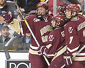 Celebrating Gionta's EN - Tim Filangieri, Nathan Gerbe (Gionta) Peter Harrold - The Boston College Eagles defeated the University of Maine Black Bears 4-1 in the Hockey East Semi-Final at the TD Banknorth Garden on Friday, March 17, 2006.