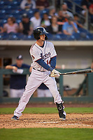 Caleb Joseph (14) of the Reno Aces bats against the Nashville Sounds at Greater Nevada Field on June 5, 2019 in Reno, Nevada. The Aces defeated the Sounds 3-2. (Stephen Smith/Four Seam Images)