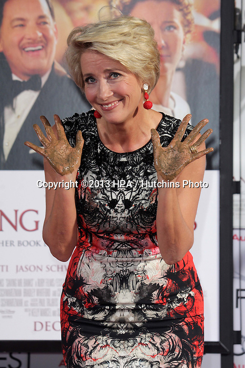 LOS ANGELES - NOV 7:  Emma Thompson at the Emma Thompson Hand and Footprint Ceremony at TCL Chinese Theater on November 7, 2013 in Los Angeles, CA\