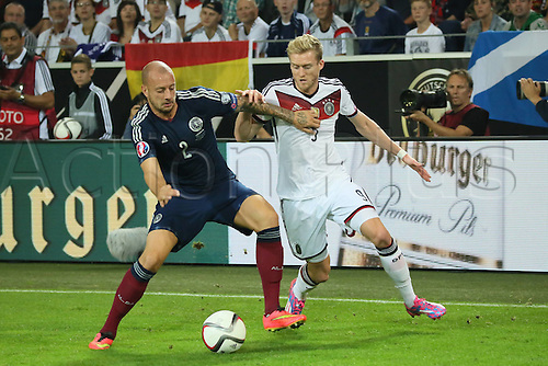 07.09.2014. Dortmund, Germany.   international match Germany Scotland  in Signal Iduna Park in Dortmund. Alan Hutton SCO against Andre Schurrle Germany