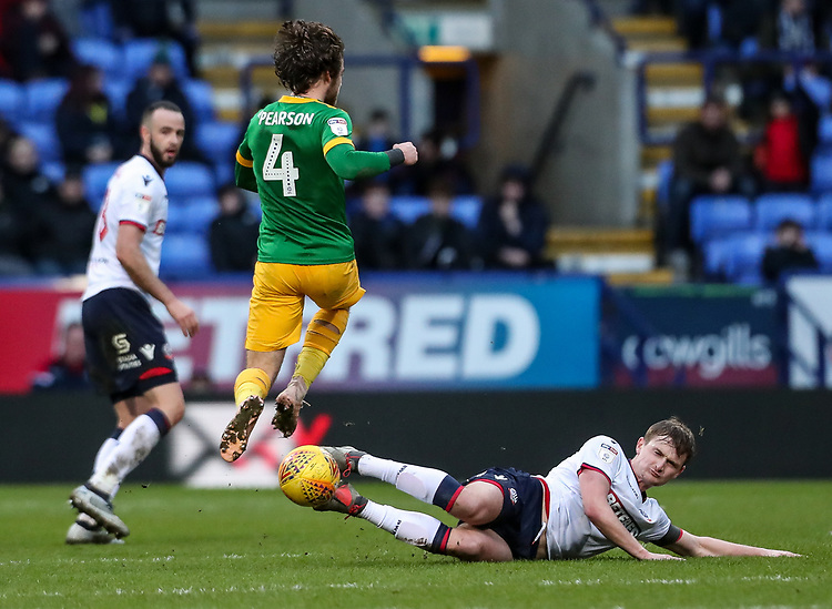 Bolton Wanderers' Callum Connolly competing with Preston North End's Ben Pearson  <br /> <br /> Photographer Andrew Kearns/CameraSport<br /> <br /> The EFL Sky Bet Championship - Bolton Wanderers v Preston North End - Saturday 9th February 2019 - University of Bolton Stadium - Bolton<br /> <br /> World Copyright &copy; 2019 CameraSport. All rights reserved. 43 Linden Ave. Countesthorpe. Leicester. England. LE8 5PG - Tel: +44 (0) 116 277 4147 - admin@camerasport.com - www.camerasport.com
