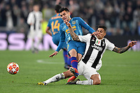 Angel Correa of Atletico Madrid and Joao Cancelo of Juventus compete for the ball during the Uefa Champions League 2018/2019 round of 16 second leg football match between Juventus and Atletico Madrid at Juventus stadium, Turin, March, 12, 2019 <br />  Foto Andrea Staccioli / Insidefoto