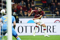Hakan Calhanoglu of AC Milan scores the goal of 1-0 for his side <br /> Milano 20/10/2019 Stadio Giuseppe Meazza <br /> Football Serie A 2019/2020 <br /> AC Milan - Lecce <br /> Photo Image Sport / Insidefoto