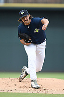 Starting pitcher David Peterson (30) of the Columbia Fireflies delivers a pitch in a game against the Greenville Drive on Sunday, May 27, 2018, at Spirit Communications Park in Columbia, South Carolina. Greenville won, 3-0. (Tom Priddy/Four Seam Images)