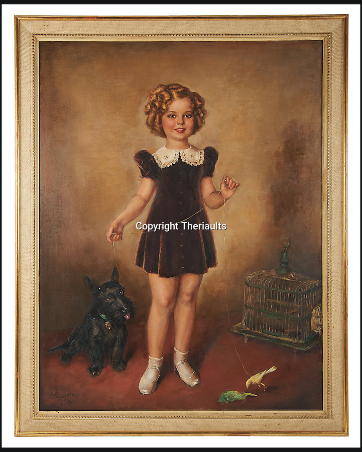 BNPS.co.uk (01202 558833)<br /> Pic: Theriaults/BNPS<br /> <br /> Oil painting of Shirley Temple in brown dress with corky and canary by Costa.<br /> <br /> The costumes worn by childhood movie star Shirley Temple during her Hollywood career make up a long-lost £1.5m collection belonging to the late actress.<br /> <br /> The curly-haired performer's parents made it a condition that she got to keep all of her outfits after filming rather than return them to the movie studios.<br /> <br /> The child costumes, that include the iconic red and white polka-dot dress the then six year old wore in her breakthrough role in the 1934 flick 'Stand Up and Cheer', have been locked away in a vault at her home for 75 years. They are being sold in Maryland, US.