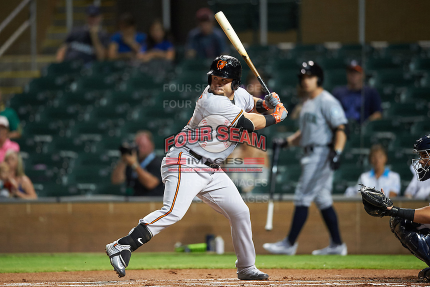 Peoria Javelinas D.J. Stewart (15), of the Baltimore Orioles organization, during a game against the Salt River Rafters on October 11, 2016 at Salt River Fields at Talking Stick in Scottsdale, Arizona.  The game ended in a 7-7 tie after eleven innings.  (Mike Janes/Four Seam Images)