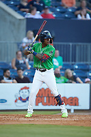 Cristian Pache (15) of the Gwinnett Stripers at bat against the Scranton/Wilkes-Barre RailRiders at Coolray Field on August 16, 2019 in Lawrenceville, Georgia. The Stripers defeated the RailRiders 5-2. (Brian Westerholt/Four Seam Images)