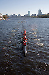 Thames River Sculls (TRS)/ CGA Crew Camps; Senior-Master Eights Men [50+]; 2006 Head of the Charles Regatta; Master's rowers Boston; Boston skyline; Boston skyline from the Charles River; Rowers, 2006 Head of the Charles Regatta, Cambridge, Boston, Massachusetts, USA. October 21, 2006