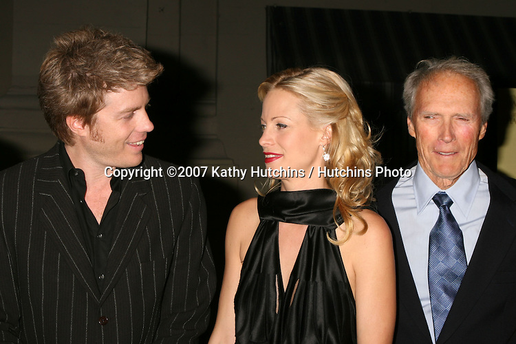 """Alison Eastwood, Clint Eastwood, and Marcia Gay Harden.""""Rails & Ties"""" Premiere.Stephen J. Ross Theater.Warner Brothers Lot.Burbank,  CA.October 23, 2007.©2007 Kathy Hutchins / Hutchins Photo...               ."""
