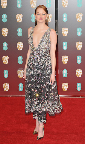 Emma Stone at the EE British Academy Film Awards (BAFTAs) 2017, Royal Albert Hall, Kensington Gore, London, England, UK, on Sunday 12 February 2017.<br /> CAP/CAN<br /> &copy;CAN/Capital Pictures /MediaPunch ***NORTH AND SOUTH AMERICAS ONLY***