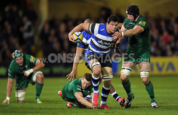 Francois Louw of Bath Rugby takes on the London Irish defence. Aviva Premiership match, between Bath Rugby and London Irish on April 24, 2015 at the Recreation Ground in Bath, England. Photo by: Patrick Khachfe / Onside Images